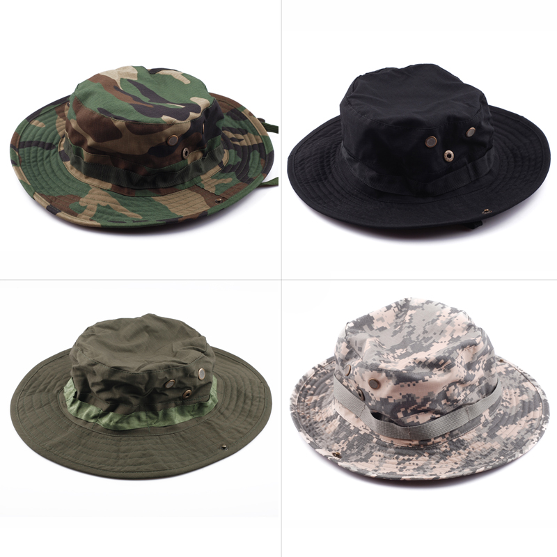 Outdoor Combat Hiking Army Patrol Tactical Boonie Sun Block Hat Cap, Camouflage