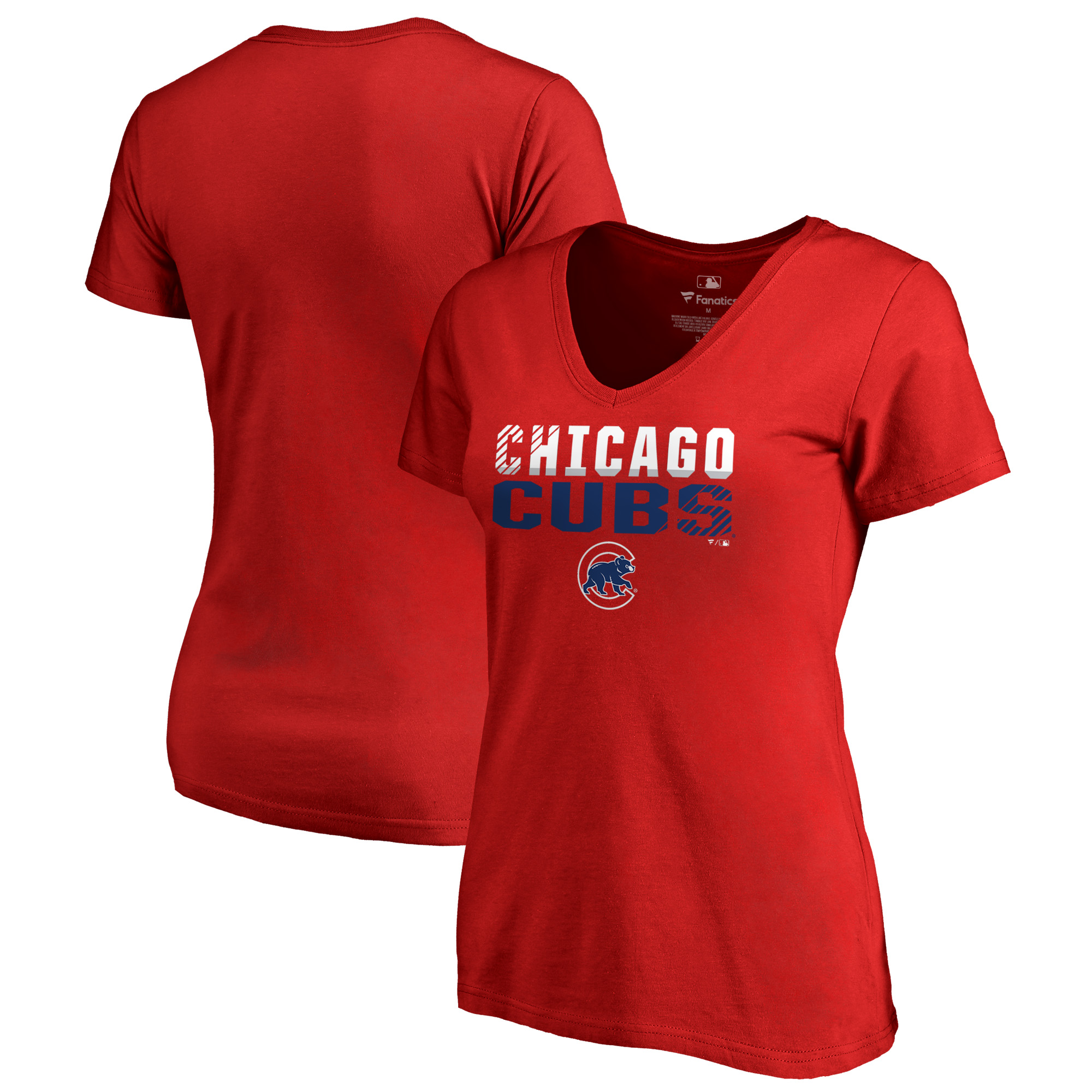 Chicago Cubs Fanatics Branded Women's Fade Out Plus Size V-Neck T-Shirt - Red