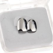 Double Two Tooth Grillz Top Left Side Silver Tone 2-Tooth Caps Teeth Slugs Hip Hop Grills