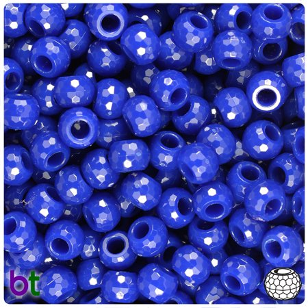 BeadTin Royal Blue Opaque 9mm Faceted Barrel Pony Beads (500pcs)