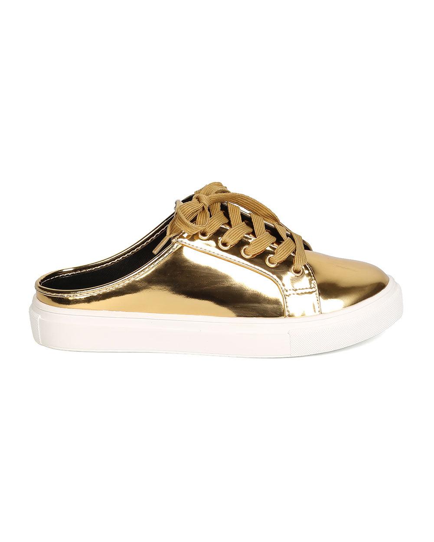 Women Metallic Leatherette Round Toe Lace Up Sneaker Slipper GA66