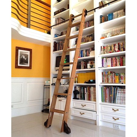 8 Ft Rolling Library Ladder Kit With 12 Feet Of Track