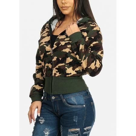 95469b0b2c73 ModaXpressOnline - Casual Fashion Womens Juniors Hooded Camouflage Army  Print Long Sleeve Sweater Hoodie Sweatshirt 10083T - Walmart.com