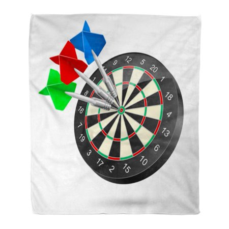 ASHLEIGH Flannel Throw Blanket Black Accuracy Raster Dartboard Darts Hitting Target on White Soft for Bed Sofa and Couch 50x60 Inches ()