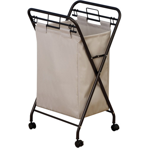 Household Essentials Rolling Laundry Hamper with Lift-Out Bag, Antique Bronze