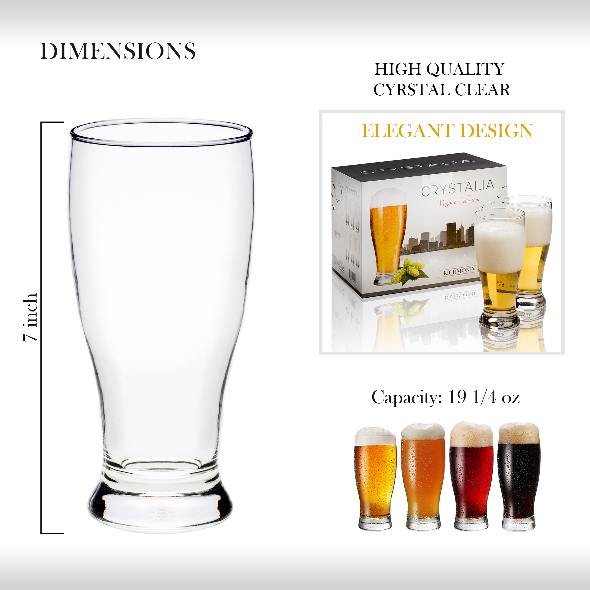Classic Lager Stout Pilsner Glass Set All Purpose Tumblers Crystalia Beer Glasses Set of 6 19 /¼ oz Set of 4 Tall Clear Drinking Glass