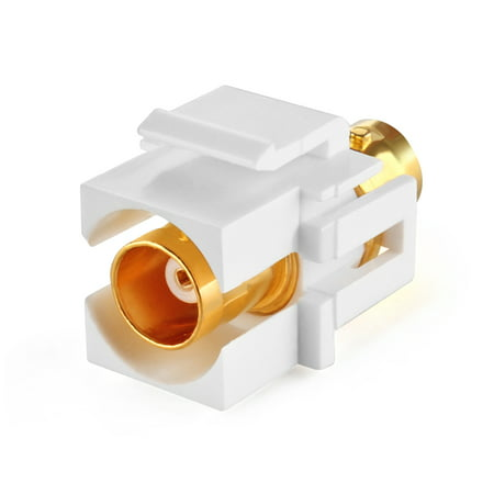 BNC Keystone Jack Insert Connector Socket Female Snap In Adapter Port Gold Plated Inline Coupler For Wall Plate Outlet Panel Mount (White)
