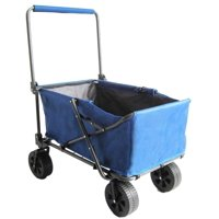 Zenithen 2.02 Cu. Ft. Folding Large Garden Wagon with All Terrain Wheels