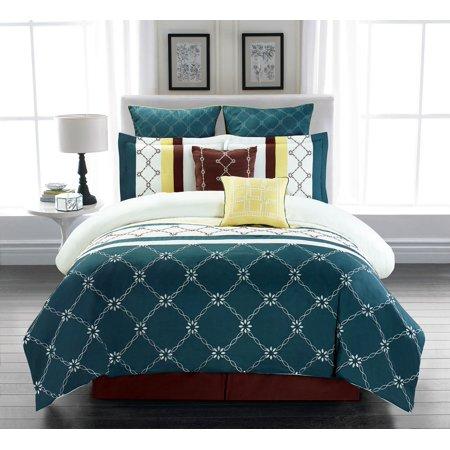 8 Piece Comforter - 8 Piece Boyle Teal/Ivory Comforter Set King