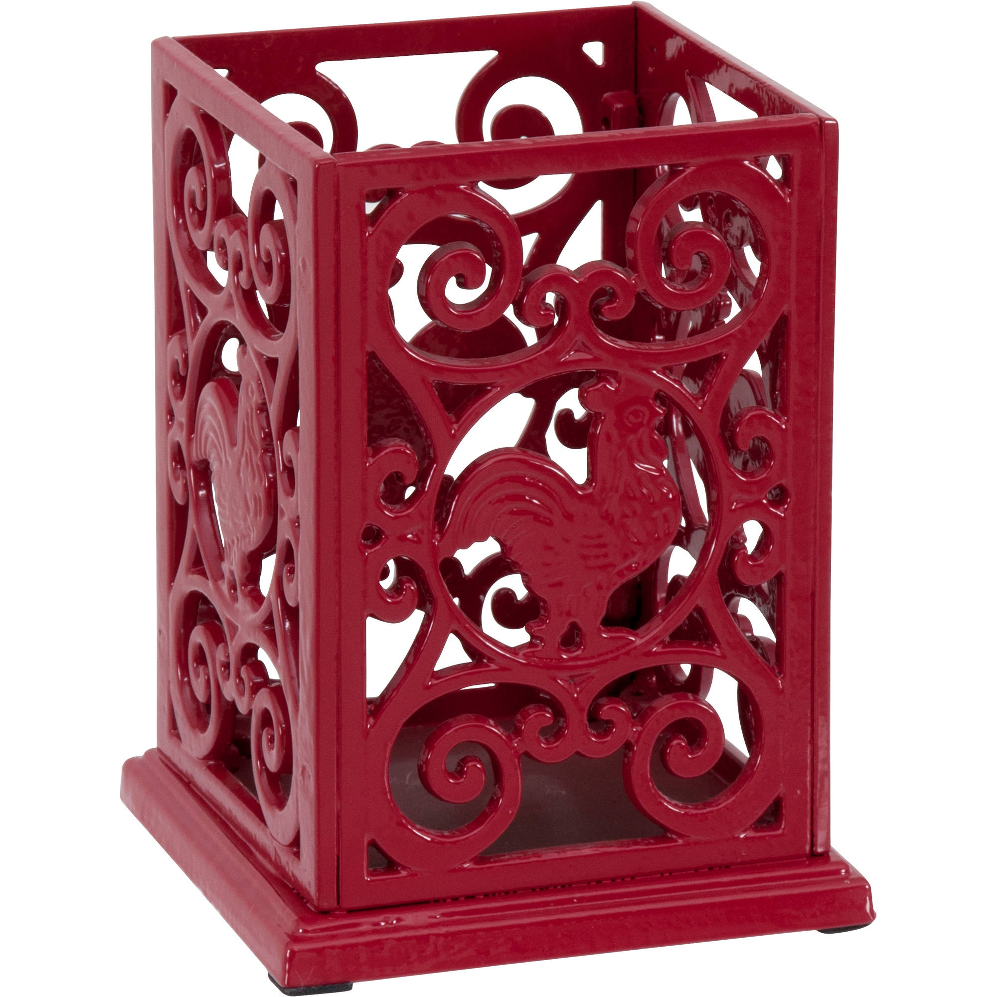Charmant Better Homes And Gardens Red Rooster Cast Iron Square Utensil Holder