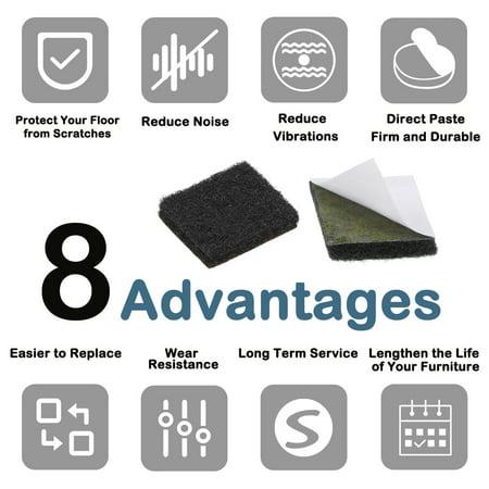 Furniture Pads Adhesive Felt Pads 16mm x 16mm Square 3mm Thick Black 28Pcs - image 3 de 6