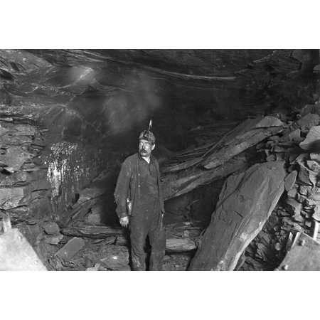 Hine Coal Miner 1908 Na Miner In Front Of A Great Fall Of Slate That Blocked The Entry To Turkey Knob Mine Macdonald West Virginia Photograph By Lewis Hine October 1908 Poster Print by Granger Collect