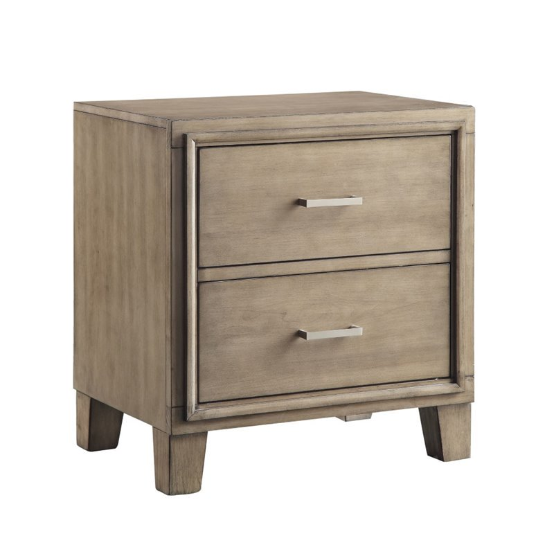Furniture of America Realm 2 Drawer Nightstand in Gray