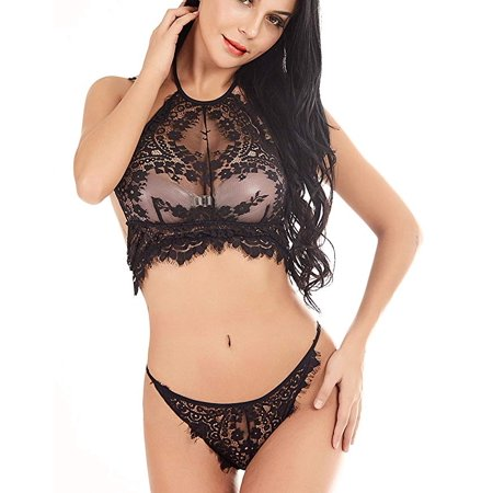 605cadf009d Freshlook - Women s Sexy Lingerie Set Eyelash Lace Flower Top Bralette and  Panty Sets - Walmart.com