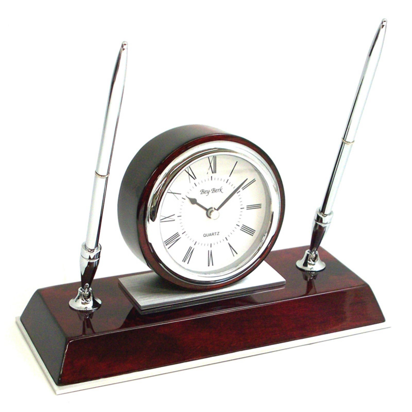 Bey-Berk International Rosewood Desk Clock with Pen Set