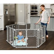 Regalo Versatile Play Space 192-Inch Plastic Super Wide Portable Baby Gate and Play Yard, 4-In-1, Bonus Kit, Includes 4 Pack of Wall Mounts, Indoor and Outdoor Play Space, Cool Gray