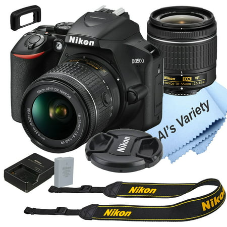 Nikon D3500 DSLR Camera Kit with 18-55mm VR Lens Built-in Wi-Fi24.2 MP CMOS Sensor EXPEED 4 Image Processor and Full HD 1080p Video Recording at 60 fps SnapBridge Bluetooth Connectivity