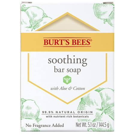 (2 pack) Burts Bees Soothing Bar Soap with Aloe & Cotton 5.1 Ounce
