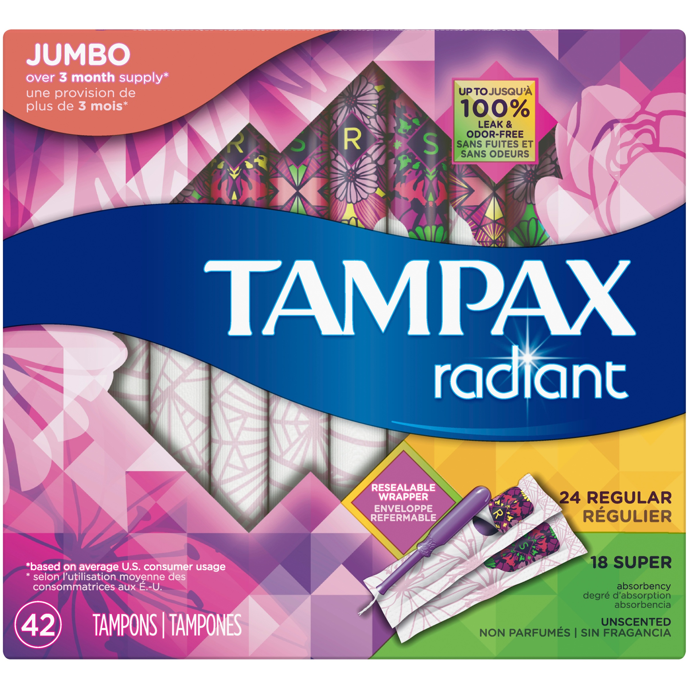 Tampax Radiant Plastic Tampons (Choose Size and Count)