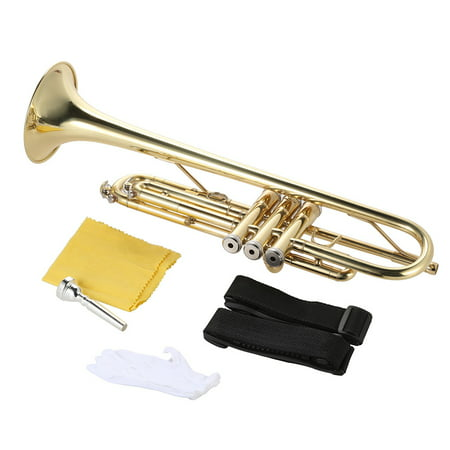 ammoon Trumpet Bb B Flat Brass Gold-painted Exquisite Durable Musical Instrument Brass Wedding Trumpet
