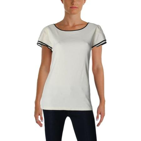 Lauren Ralph Lauren Womens Ribbed Knit Contrast Trim T-Shirt