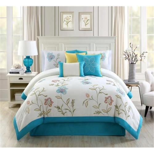 Elight Home 20889K Teagan Embroidery 7 Piece Comforter Set - King