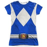 Power Rangers - Blue Ranger (Front/Back Print) - Juniors Cap Sleeve Shirt - X-Large