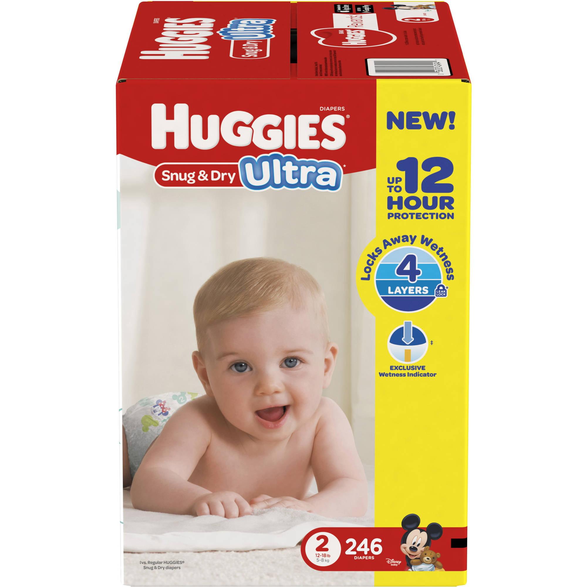 HUGGIES Snug & Dry Ultra Diapers, Size 3, 132 Diapers, plus Bonus Diapers