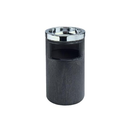 Ash Urn / Waste Receptacle - Black and Chrome - image 1 de 1