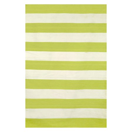 Sorrento Rugby Stripe Lime Rug-Color: Green, Size:8'Lx24