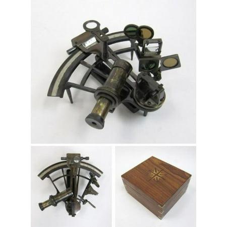 Hughes Antique - India Overseas Trading BR48503K - Kelvin & Hughes Sextant Antique finish, Wood box