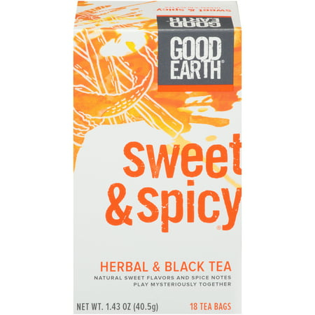 (3 Boxes) Good Earth Herbal & Black Tea, Sweet & Spicy, Tea Bags, 18