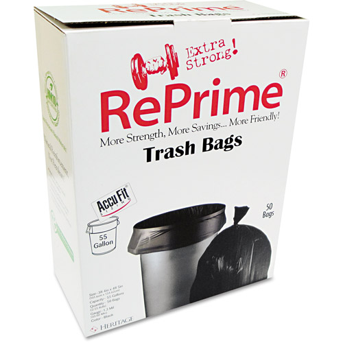 Reprime Black Can Liners, 55 gal, 50 ct