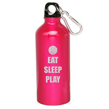 20oz Aluminum Sports Water Bottle Caribiner Clip Eat Sleep Play Basketball (Hot Pink) ()