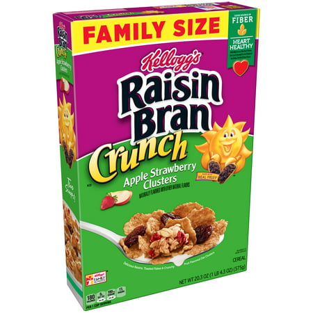 (2 Pack) Kellogg's Raisin Bran Crunch Cereal, Apple Strawberry Clusters, 20.3 Oz