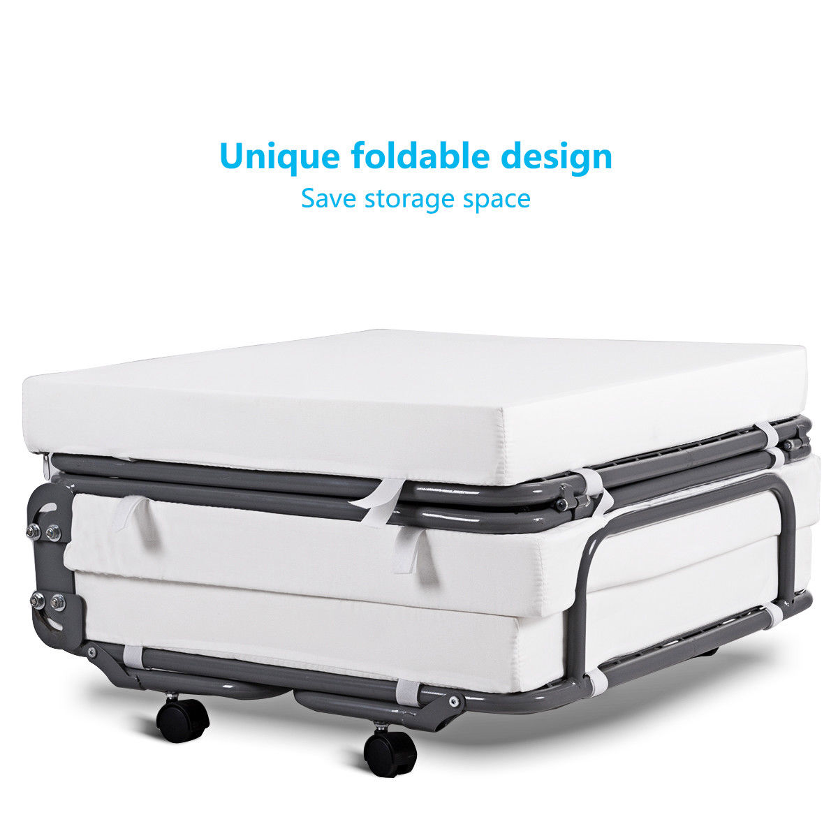 Convertible Sofa Bed Ottoman Couch Mattress Lounge Sleeper w/ Casters - image 3 de 9