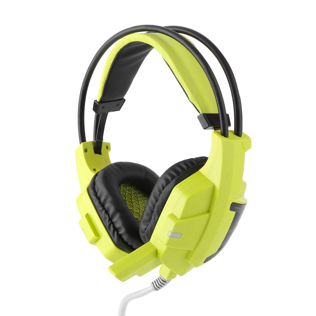 Noise Canceling Stereo Headphones With Adjustable Microphone Gaming Headphone High Bass Earphones For PC LED Light Headset