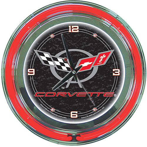 "Corvette C5 14"" Neon Wall Clock, Black"