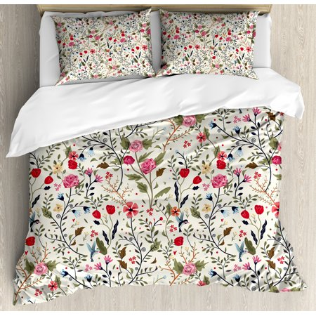 Floral Duvet Cover Set, Vibrant Colored Complex Image Birds with Roses Leaves and Polka Dots Nature Scenery, Decorative Bedding Set with Pillow Shams, Multicolor, by Ambesonne ()