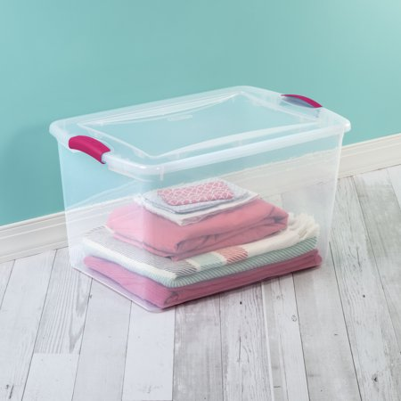 Sterilite, 66 Qt./62 L Latch Box, Fuchsia Burst