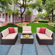 Walnew 6 Pieces Outdoor Sectional Sofa Set PE Wicker Rattan Sectional Seating Group with CushionsBeige