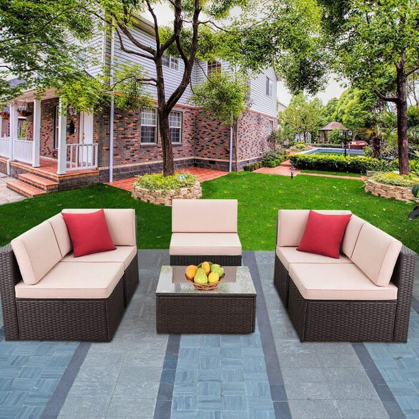Walnew 6 Pieces Outdoor Sectional Sofa Set PE Wicker Rattan Sectional Seating Group with Cushions(Beige)