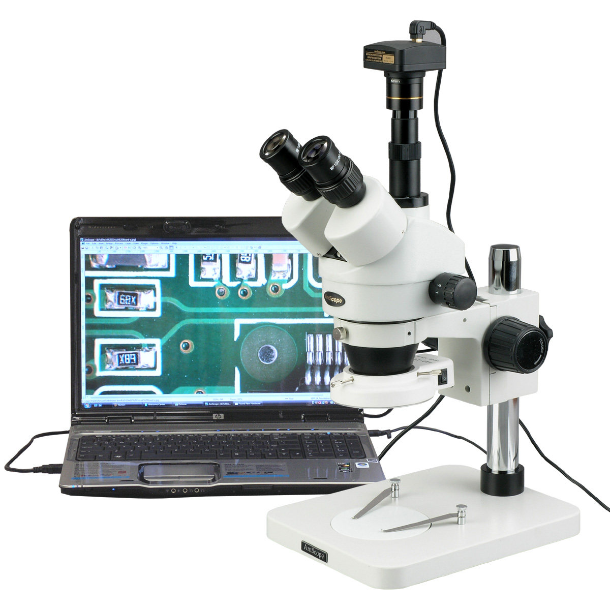 AmScope 3.5X-180X Manufacturing 144-LED Zoom Stereo Microscope with 10MP Digital Camera New