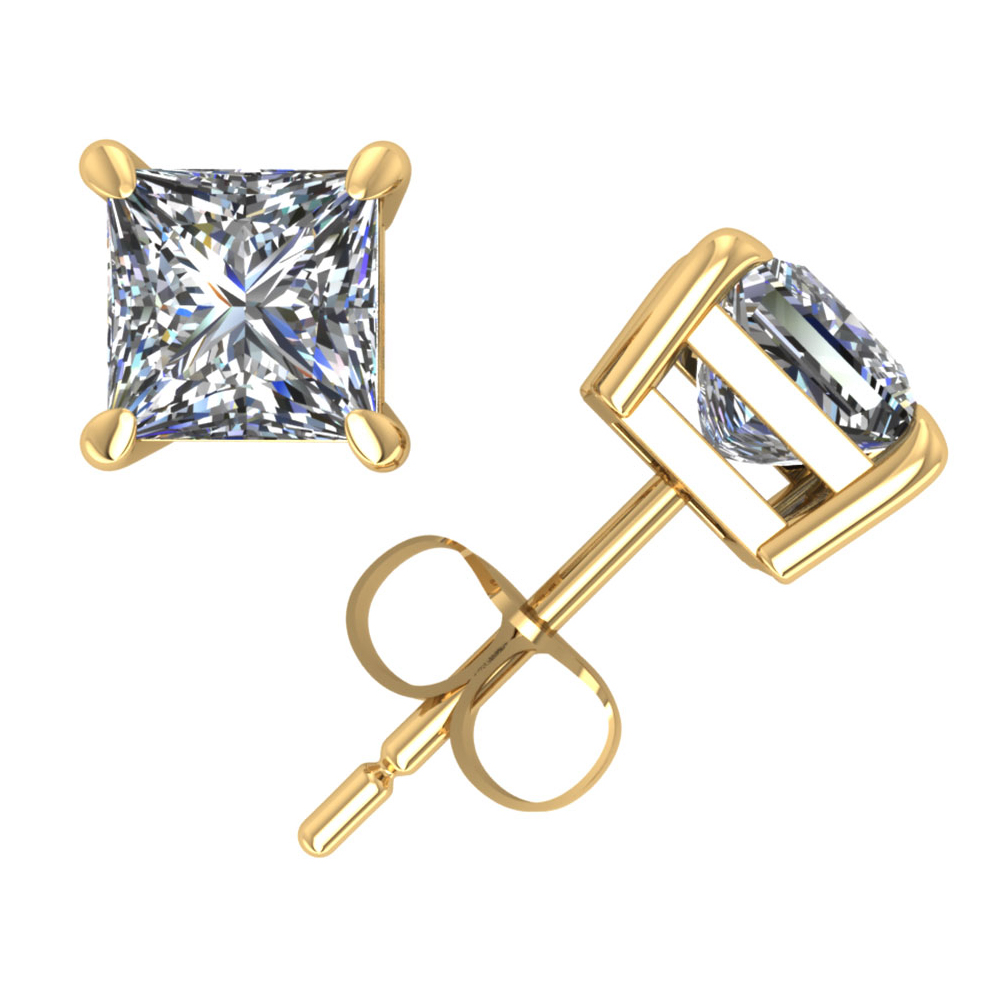 1Ct Princess Cut Diamond Solitaire Stud Earrings 14k Yellow Gold Prong Push Back GH I1