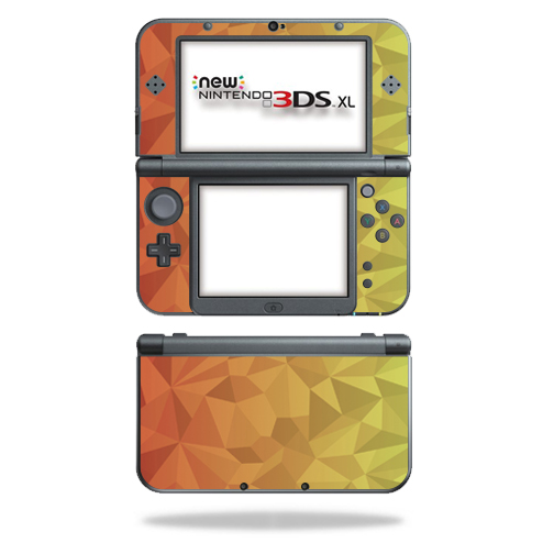 MightySkins Protective Vinyl Skin Decal for New Nintendo 3DS XL (2015) Case wrap cover sticker skins Red Orange Polygon