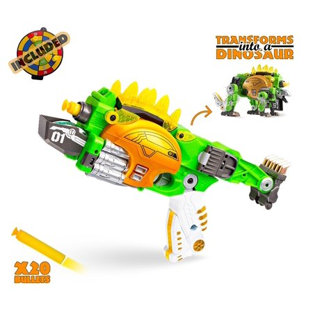 Transformer Dinosaur Gun with 20 Foam Darts – Holiday, Birthday Gift Transformer Nerf Style Gun and Darts by Big Mo's Toys