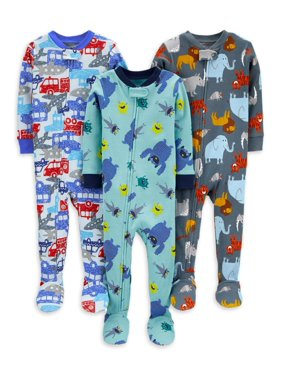 Child of Mine by Carter's Baby Toddler Boys 1-Piece Snug Fit Cotton Footie Sleeper Pajamas, 3pk