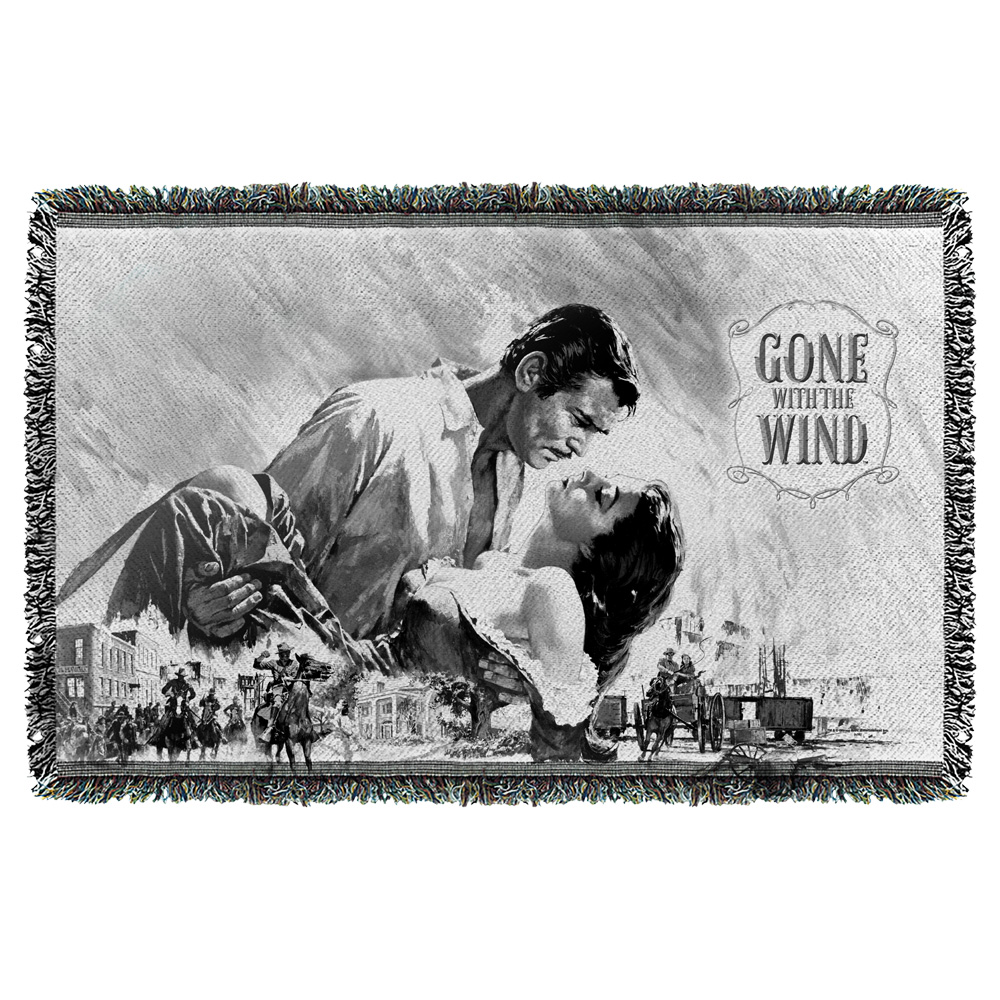 Gone With The Wind Bw Poster Woven Throw White 48X80