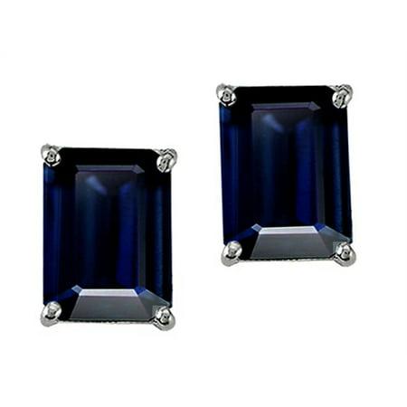 Tommaso Design Emerald Octagon Cut Genuine Sapphire Earrings Studs in 14 kt White (Octagon Emerald)