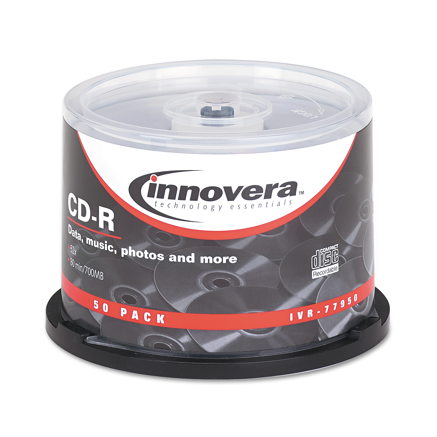 Innovera CD-R Discs, 700MB/80min, 52x, Spindle, Silver, 50/Pack -IVR77950